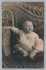 Cute Baby & Ornate Wicker Chair RPPC Hilton Studio NORFOLK Virginia—Antique~1910