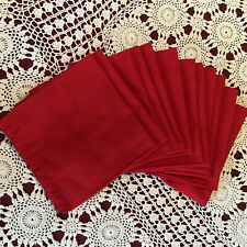 Set Of 12 Christmas Napkins Solid Red Cotton ?