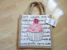 NEW SMALL CUPCAKE PRINT JUTE SHOPPING BAG FROM TESCO Limited Design
