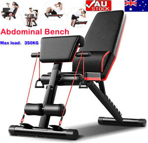 Adjustable Weight Abdominal Bench Sit-up Fitness Flat Gym Exercise Dumbbell AU