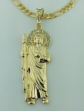 St Jude Gold Plated Pendant With stones in the crown and Figaro necklace