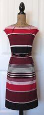 NWT $79.99 ILE NEW YORK Red/Black/White Stripe Knit Sheath Dress w Belt Women 14