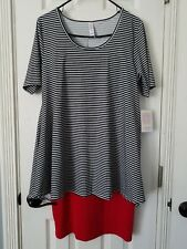 Lularoe UNICORN Black White Stripe S Perfect T & Red Medium Cassie Skirt Outfit!