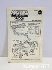 MOTU, Spydor, Instruction Book, Vehicle Paperwork MASTERS OF UNIVERSE, Insert,