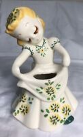 Vintage Ceramic Made In Mexico Flower Girl Vase/ Planter CUTE,7'' tall