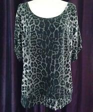Pure Energy Shirt Animal Print Blouse White Gray Leopard Spots Top Sheer-Back 1