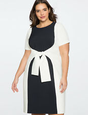 e06a3127423 Eloquii Dress Sz 14 Colorblock Women s Stretch Navy White Slimming Tie Front