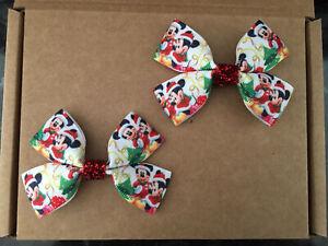 Christmas Mouse - hair bow clips (2) HANDMADE girls hair accessories