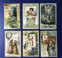 6 New Years Antique Postcards, TUCK Publ Series 600. For Collectors Nice w Value
