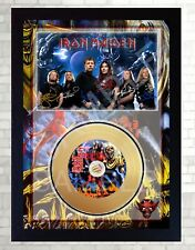 NEW! Iron Maiden The number of the Beast Mini Gold Vinyl Record Signed Framed