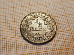 0036: 1/2 Mark 1918 J Silber Fehlprägung Doppelsenkung