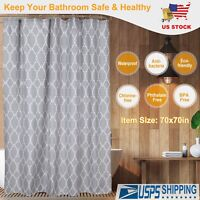 "70"" x 70"" Waterproof Fabric Bathroom Bath Shower Curtain Decor with 12 hooks Set"