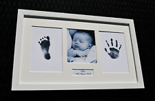 Personalized Baby Hand Print & Footprint Photo White Frame Kit Baby Shower Gift