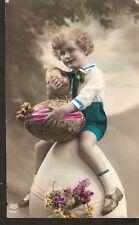 a64. Latvia Easter holidays Greetings photo postcard Boy Child eggs 1920-1930