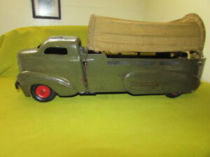 """Vintage 1930-40's Wyandotte Toy Army Supply Truck, 21"""" Long, Pressed Steel, WOW!"""