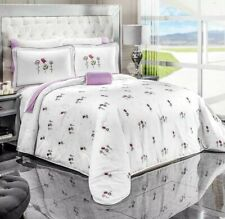 AMORE FLOWERS REVERSIBLE COMFORTER SET AND SHEET SET 8 PCS QUEEN SIZE