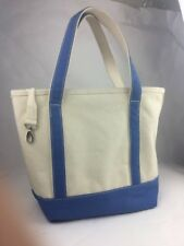 Lands End Canvas Natural & Blue Boat Bag Tote Carry-All Medium Insert Pockets