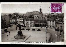 SAINT-QUENTIN (02) TRAMWAY & AUTOBUS à l'HOTEL DE VILLE en 1936
