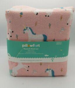 Pillowfort Flannel 100% Cotton Sheet Set. Size Queen Unicorn Pink