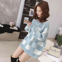 Cute Women Color Block Oversized Jumper Pullover Loose Tunic Knitted Sweater Top