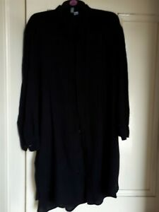 Ladies 'Divided' long length collarless shirt -l/s black cotton/linen, size XL