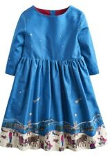 Joules Gorgeous Girls Phoebe Snow Time Blue Dress  💐 3Yrs - BNWT