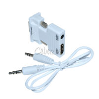 HDMI Female to VGA Male Converter+Audio Cable Support 1080P Signal Output White