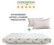KIT MATERASSO 100% LATTICE MATRIMONIALE 160x190 H 18 + 2 CUSCINI FIOCCO LATTICE