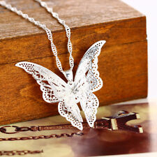 3 cm Large Butterfly 925 Sterling Silver Plated Necklace Fashion Jewelry Gift