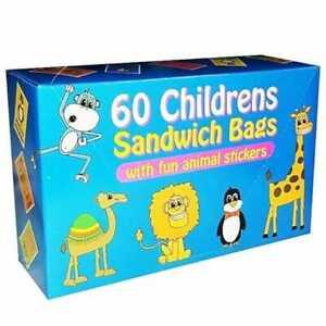 60 Kids Sandwich Bags Children Food Snack Lunch Storage School Coloured Sticker