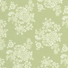 Anne of Green Gables Ivory Flower Floral Bouquet on Green Cotton Fabric - FQ