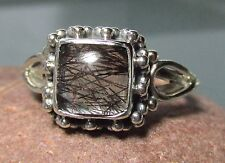 Sterling silver everyday tourmalated/tourmalinated quartz ring UK L/US 5.75-6
