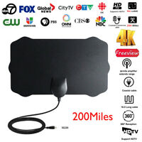 ANTENNA TV INDOOR + HDTV digitale antenna Amplificato 200 miglio gamma VHF UHF