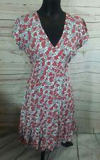 Amari Womens Dress Size 2 (10) Pink Grey Floral Pattern Ruffle Hem
