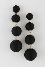PARKER SPARROW BLACK BON BON TRIPLE THREAD BALL STATMENT EARRINGS