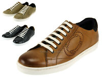 Base London Mens Leather & Suede Casual Shoes With Contrast White Rubber Sole