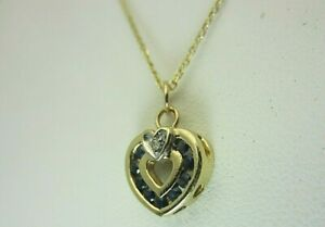 New 14K Yellow Gold 0.25 CT Sapphire and Diamond Heart Pendant Chain Necklace