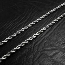 4 mm Mens Chain Silver Tone Twist Rope Stainless Steel Link Necklace HOT Fashion
