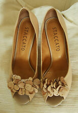Staccato beige leather peep toe shoes size 7