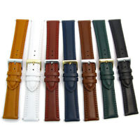 Padded Double Stitched Leather Watch Band 18mm 20mm 22mm 7 Colors C021