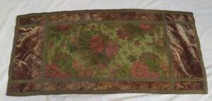 antique textile worn distressed velvet floral flowers pink table runner