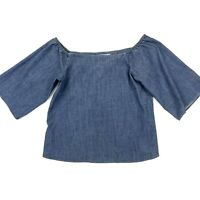 Alice + Olivia Womens Christy Blue Chambray Off The Shoulder 3/4 Sleeve Top Sz S