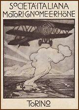 PUBBLICITA' 1919 GNOME E RHONE TORINO  MOTORI AEREO 9J OMEGA  BIPLANO G.MARUSSIG