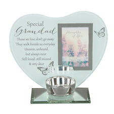 """""""Thoughts of You"""" Glass Photo Frame Memorial Tea Light Candle Holder - Grandad"""