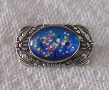 Vintage blue Butterfly Wing floral painted Art Nouveau Sterling Silver pin Rare