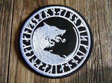 Runen Wolf Aufnäher / Patch - Nordic Black Metal Runes Pagan Vikings Wikinger