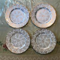Gainsborough English Bone China Salad Plates, Floral Design Set of 4