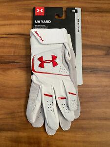 Under Armour UA YARD Adult Baseball Batting Gloves Sz Medium White Red Ret $40