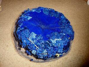 Vintage Women's Union Made Royal Blue Velvet, Floral Net Pill Box Hat