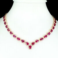 49.35 Ct NATURAL MOZAMBIQUE RUBY (Gem Weight) NECKLACE 14K ROSE GOLD/925 SILVER
